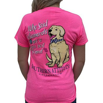 Southern Attitude Preppy Diamonds Are A Girls Best Friend Pink T-Shirt
