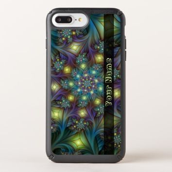 Illuminated modern blue purple Fractal Art Name Speck iPhone Case