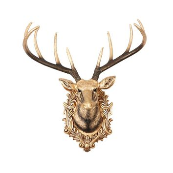 Large Deer Head Decoration European Retro Living Room Wall Decorations Animal Head Wall Decoration Ornaments Crafts Resin