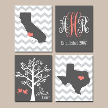 TWO STATES Wall Art, Family Canvas or Prints Family Couple Gift, Personalized Wedding Gift Tree Birds Monogram Est Date Set of 4 Coral Gray