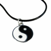 Hip Mall Yin Yang Pendant Leather Necklace 90s Festival Lucky Protection
