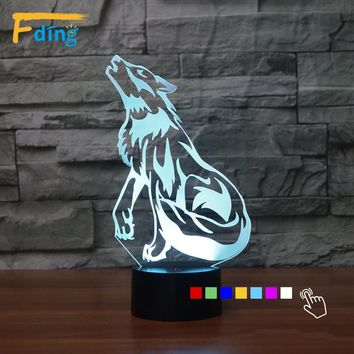 3D LED Howling Wolf Lamp With 7 Changable Colors