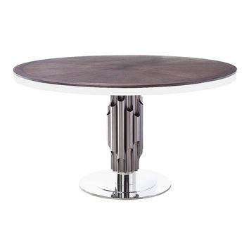Aria Round Modern Industrial Dining Table Matte Light Grey 54""