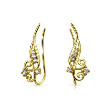 CZ Wire Ear Pin Crawlers Earrings 14K Gold Plated 925 Sterling Silver