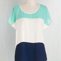 Colorblocking Mid-length Short Sleeves Thrice as Charming Top by ModCloth