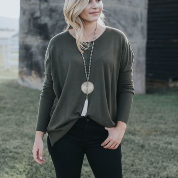 Danielle Long Sleeve Sweater, Olive