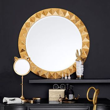 The Emily & Meritt Studded Round Mirror