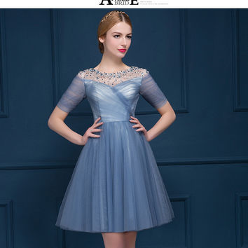 CD0002 Charming See Through Neck Tulle Beading Robe De Cocktail Dress Short Prom Dresses Cheap For Pageant Party Dress