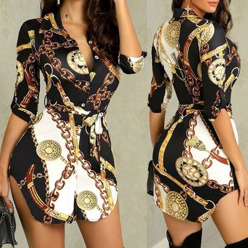 Fashion Women Sexy Golden Chain Print Butterfly Sleeves Dress