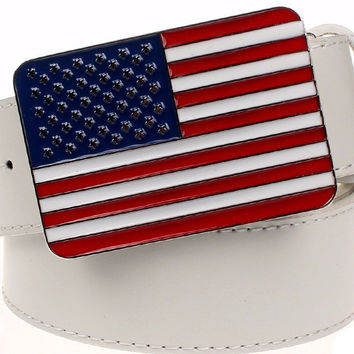 Retro American Flag Leather Belt