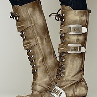 Free People Womens Kantell Lace Up Boot - Khaki,