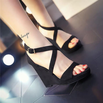 Women platform wedges sandals with open toe cross-tied with buckle strap women suede party shoes yellow nude black grey sandals