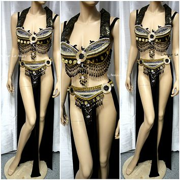 Umbreon Pokemon Belly Dancer Cosplay Dance Costume Rave Bra Gypsy Halloween Burlesque Show Girl