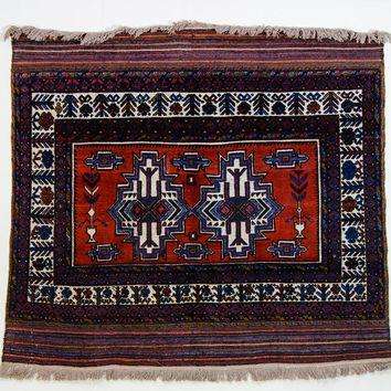 Oriental Baluchi Kilim Persian Tribal Rug, Red