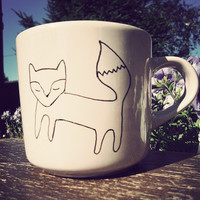 Mr Teacup's hand drawn fox mug by MrTeacup on Etsy