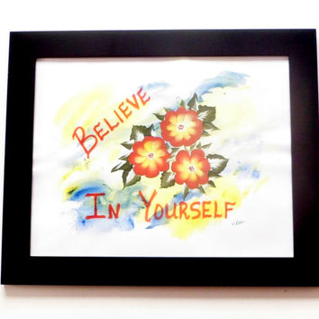 Believe in Yourself Inspirational Art, Mixed Media Original Painting Motivational Art, Boho Decor Word Art, Inspirational Quote Art