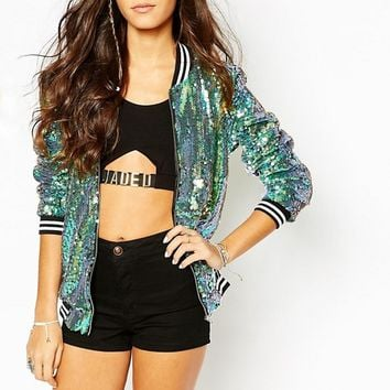 Jaded London Bomber Jacket in Mermaid Sequin at asos.com