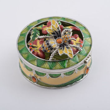 Jewelry Box with Bee on Flowers Faberge Styled Trinket Box Handmade by Keren Kopal Green & Yellow Enamel Painted