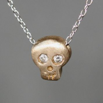 Baby Skull Necklace  in 14K Yellow Gold with Diamonds on Silver Chain