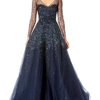 Carolina Herrera Sequined Illusion Tulle Ball Gown
