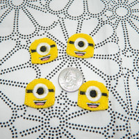 Minion feltie center set of 4  for hair bows one eyed minon felt embroidery