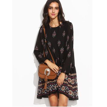 Fashion Boho Floral Print Autumn Women Dress Casual Street Style Loose Long Sleeve Round Neck Dress Knee-Length vestidos mujer