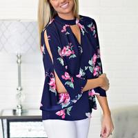 *  Pallas Floral Key Hole Neck Top: Navy