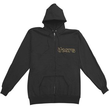 Doors Men's  Lizard King Zippered Hooded Sweatshirt Black Rockabilia