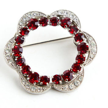 Vintage Rhinestone Brooch - Red & Clear Glass Stone Silver Tone Costume Jewelry Pin / Scalloped Flower Wreath