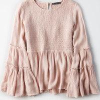 AE Solid Smocked Tunic, Blush