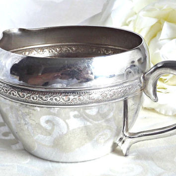 ON SALE Vintage Silver Plated Creamer, French Farmhouse, Cottage Chic Decor, Silver Creamer, Vintage Kitchen, French Chic Decor