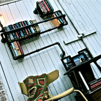 Industrial Pipe Bookshelf Level 3 Lighting by stellableudesigns