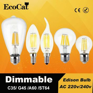 Dimmable LED Edison lamp E27 led bulb 220v E14 Vintage Filament ST64 A60 C35 G45 6W 8W E27 lampen replace incandescent bulb
