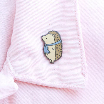 Hedgehog Pin, hedgehog enamel pin, cute enamel pin hat badge animal