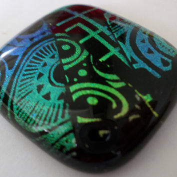 Teal Dichroic Glass Cabochon Cab Pendant  Colorful Vibrant Mosaic Fused Glass  PMC Wire Wrap