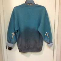 Ombré Teal to Black Sweater with Studded Cross on elbow(State size at checkout)