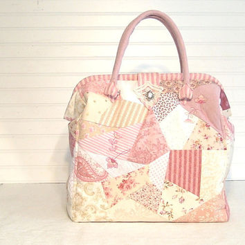 Shabby Chic Victorian Patchwork Carpet Bag Pink Cream White