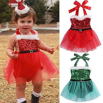 Xmas Baby Girls Dress Newborn Baby Girl Rompers Jumpsuit Tulle Dress Christmas Outfits Costume 0-3T