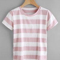 Contrast Wide Striped Tee -SheIn(Sheinside)