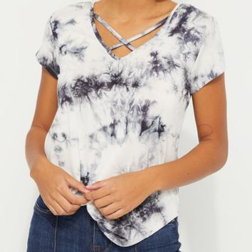 Black Crystal Tie Dye Cross Strap Tee