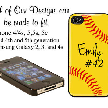 iPhone Cover,  iPhone 4s, iPhone 4, Custom iPhone Galaxy case Personalized with Name Softball Ball
