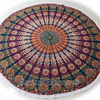 "Amitus Exports ® 1 X Roundies Beach Throw Yoga Mats Roundies With White Fringes 70"" Approx. Inches Blue Multi Color Round Large Cotton Fabric Multi-Purpose Handmade Tapestry Indian Mandala Throws"