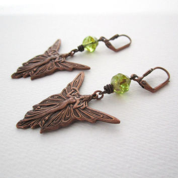 Woodland Fairy Earrings - Peridot Green - Forest Elf - Bohemian Fantasy