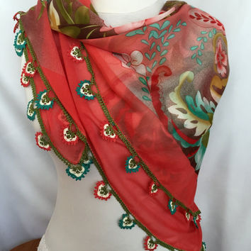 Turkish Oya Lace Scarf, Colorful Floral Crochet Scarf, Anatolian Traditional Scarf, Original Handmade Gift For Woman, Coral Mint Peach