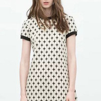 Retro Jacquard Printed Short Sleeve Dress
