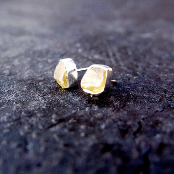 Rough yellow sphene earrings - sterling silver, natural, earth mined, large, honey yellow