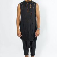 Distressed Sleeveless Long Tee