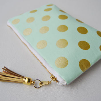 Gold polkadot clutch, golden metallic zipper pouch, mint and gold dots, gold leather bag, sparkle makeup bag, coin purse, bridesmaid gifts