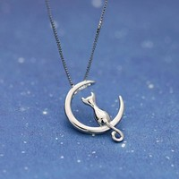 Cute Kitty Cat Silver Necklace