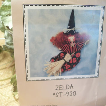 Halloween Sewing Crafts Pattern Witch Pin or Ornament Fall DIY Holiday Decor Soft Sculpture